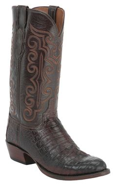 Lucchese® 1883™ Men's Barrel Brown Caiman Crocodile Belly Exotic Western Boots | Cavender's Boot City