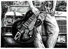 My Guitar by BugRogers 2013 Pen Drawings, Marker Pen, Guitar, Darth Vader, Fictional Characters, Fantasy Characters, Guitars