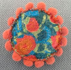Broche textile.  Soleil palette d'artiste. Muticolore. par VeronikB