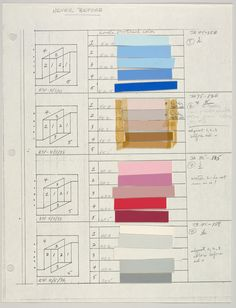 design-is-fine:  Josef Albers, Color sheets and layout of the Never Before series, 1976. Metropolitan Museum.