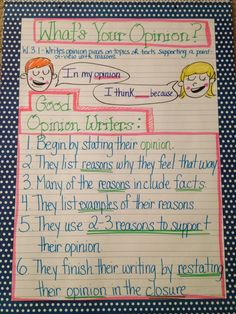 W.3.1 Anchor chart for opinion writing in third grade...Lots of great anchor charts here!