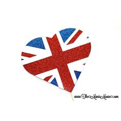 Photo Booth Props Glittery British Flag Heart Glitter Photobooth Prop ($10) ❤ liked on Polyvore featuring silver and weddings