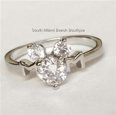 Mickey Mouse Ears Ring Cubic Zirconia Silver Rhodium Plated Disney Size 6 7 USA #Disney #Band