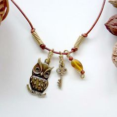 Bronze Owl & Key Necklace, Fall Jewelry, Beach Jewelry, Tribal Jewelry, Leather Jewelry, Boho Jewelry by beachartz for $16.16