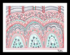 "Greeting Art Card w/envelope, ""Dragon Backs,"" by Rielle 5 1/2"" x 4 1/4"" on Etsy, $4.99"