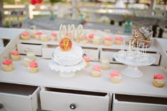 Sweet peach themed dessert table on a dresser and in a park!