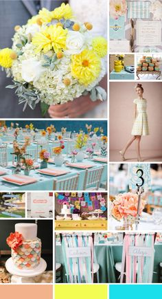 wedding colors combination: Aqua, Peach and Yellow
