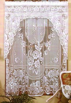 Victorian Rose is a traditional pattern used frequently in restorations.  It is available in Swags, Valances, Tiers and Panels.  Swag Pairs are $24.95.