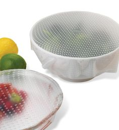 Looking for an eco-friendly and reusable alternative to plastic wrap? The Norpro Sili-Stretch Bowl Cover is made of refrigerator-, freezer- and microwave-safe FDA-approved silicone, these sheets cling to stainless steel, porcelain, stoneware, plastic & glass • Reusable silicone sheets are an eco-friendly alternative to wasteful plastic wrap • Stretch to double their size and cling to a wide variety of materials • Approved for use in -40°F to 445°F temperatures