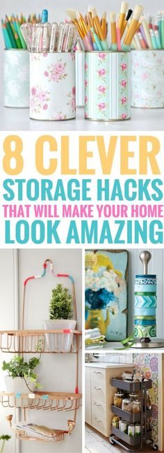 The Storage Hacks For Small Spaces are brilliant! They're classy, chic and actually works really well. Great ways to organize the small things in your home.
