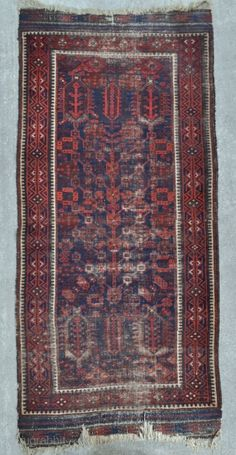 Baluch rug with Tree of Life design, possibly used as a Prayer rug judging by the wear. - 3'2 x 7'1 ft. - 97 x 216 cm. including kilim ends.