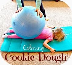 Calming Cookie Dough - Kids Play Smarter This calming sensory activity provides deep pressure and proprioceptive input for your child (the cookie dough) to help decrease stress and calm nerves. Calming Activities, Autism Activities, Motor Activities, Therapy Activities, Activities For Kids, Sensory Room Autism, Sorting Activities, Senses Activities, Movement Activities