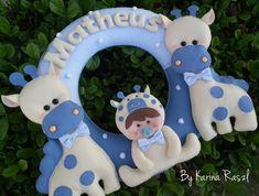 35cm, porta de maternidade...pode ser feita em outras cores, temas e bichos... R$ 198,00