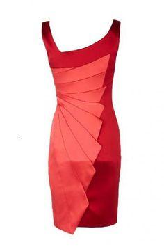 multilayer wrinkle color matching slim-fitting dress