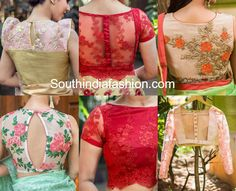 5 Stylish Net Blouse Designs for sarees. Latest net back neck blouse designs, net blouse models, blouse designs with transparent neck Latest Blouse Neck Designs, Netted Blouse Designs, Saree Blouse Neck Designs, Fancy Blouse Designs, Bridal Blouse Designs, Net Saree Blouse, Saree Jacket Designs, Saree Dress, Dress Designs