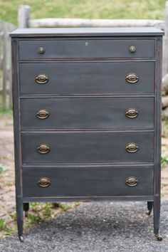 Distressed charcoal gray dresser makeover