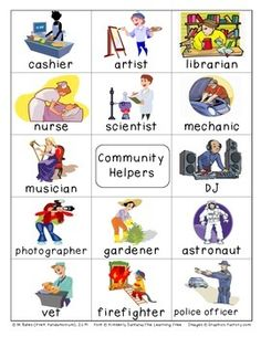 Careers Community Helpers Pictionary Cards Vocabulary Write the Room Learning Spanish, Spanish Class, Vip Kid, Theme Words, Word Poster, Site Words, Picture Dictionary, Community Helpers, English Vocabulary