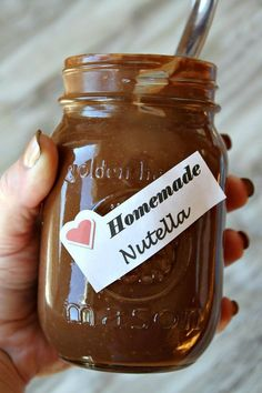 How to make homemade Nutella. Yes please since Nutella is so expensive Just Desserts, Delicious Desserts, Yummy Food, Dessert Recipes, Homemade Nutella Recipes, Chocolate Recipes, Homemade Recipe, Homemade Gifts, Homemade Food