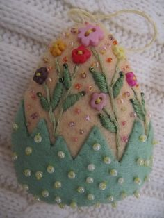 felt and bead Easter egg - idea for a brooch, card or ornament