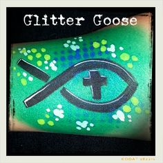 Christian icthus face painting by Glitter Goose! face art body religious fish jesus cross