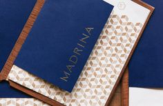 restaurant branding Brand identity and menu with gold foil detail for French inspired Mexican restaurant Madrina designed by Mast Restaurant Identity, Cafe Branding, Hotel Branding, Restaurant Design, Restaurant Restaurant, Identity Branding, Menu Design, Print Design, Graphic Design