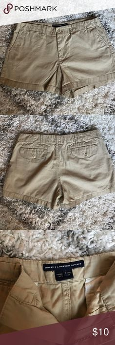 Ralph Lauren Sport Khaki Short Shorts Classic pair of shorts from Ralph Lauren Sport. Khaki. Real pockets in front & back. Buttoned pockets in back. Belt loop. 100% cotton. About 11.5in long w/ 4in inseam. Size 4. Ralph Lauren Shorts