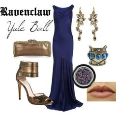 Ravenclaw Yule Ball | Harry Potter Inspired Outfits blue and bronze #housecup