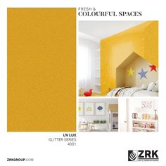 Looking to redo your little one's room? Our UV Lux Glitter series offers easy cleaning, fun colours and as always, no tears! Cleaning Fun, Yellow Glitter, Collections Catalog, Laminated Mdf, Kids Rugs, Colours, Easy, Room, Home Decor