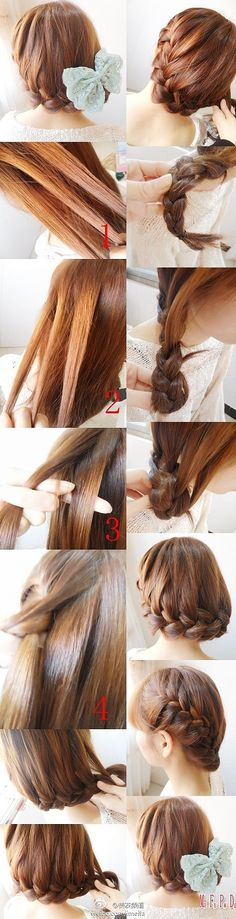 Maybe not with a huge bow, but one that is a little smaller(: - Girl, give me that hairdo - Französischer Zopf Pretty Hairstyles, Braided Hairstyles, Wedding Hairstyles, Braided Updo, Fashion Hairstyles, Hair Dos, My Hair, Diy Photo, Great Hair