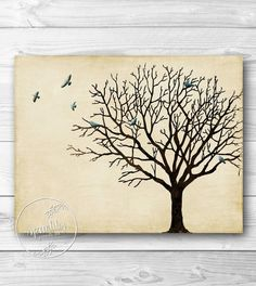 Tree Wall Art Winter Tree Silhouette Vintage by SpoonLily, $5.00