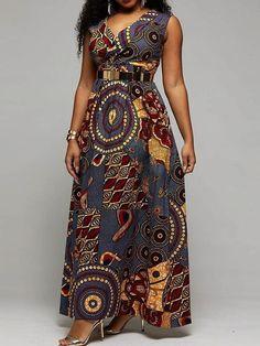 Floor-Length Sleeveless Print Western Roman Cloth Women's Maxi Dress Source by African Print Dress Designs, African Print Dresses, African Print Fashion, African Dresses For Women, Latest African Fashion Dresses, African Attire, Traditional African Clothing, Shweshwe Dresses, Robes Ankara