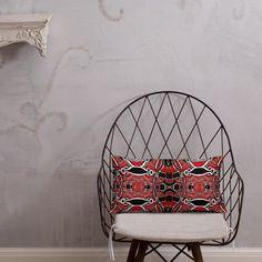 Kissen • Zirkus – Variation 1, rot, schwarz, weiß • Design Hanging Chair, Furniture, Home Decor, Peace Dove, Pillow Design, Red Black, Ghosts, Kunst, Decoration Home
