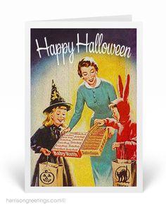 1950's Vintage Halloween Cards Vintage Halloween Cards, Vintage Birthday Cards, Holiday Greeting Cards, Vintage Greeting Cards, Halloween Trick Or Treat, Halloween Ideas, Halloween Decorations, Retro Birthday, Halloween Greetings