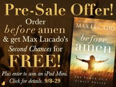 Free book with pre-order & iPad mini Giveaway - 'Before Amen' by Max Lucado