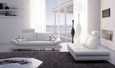 Magnificent White Living Room Remodeling Ideas Picture Showing Off A Modern White Italian Leather Convertible Sofa And Bed Sofa Placed On Grey Rugs, Stylish Modern Leather Sofa For The Pleasurable Living Room Interior Ideas: Furniture, Living Room