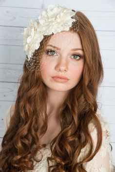 Olivia Double Flower with Pillbox Veil 2014 Bridal Headpiece Collection by Blair…