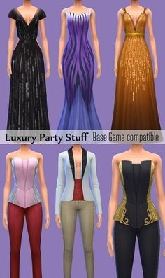My Sims 4 Blog: Base Game Compatible Luxury Party Stuff Clothing a...