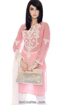 pink n white dress wid lovely embriodery