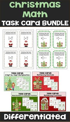 Christmas math is fun for kids with this Christmas Math Task Card Bundle for 4th, 5th, and 6th grade students.  Teachers can easily set up centers or activities in the classroom with these common core math task cards.  There are 36 differentiated task cards in each of the 4 sets for with a student recording sheet and answer key for easy grading.