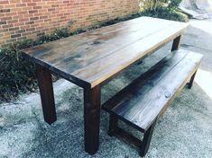 Rustic Farmhouse Table Set, Farmhouse Table With Bench, 7ft Farmhouse Table,  Espresso Dining