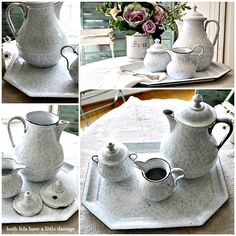 Antique French Rare Enamelware Coffee Set with Tray