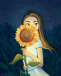 Sunflower Drawing, Sunflower Art, Sunflower Pictures, Illustration Art, Illustrations, Sunflower Wallpaper, Vincent Van Gogh, Cartoon Art, Cute Drawings