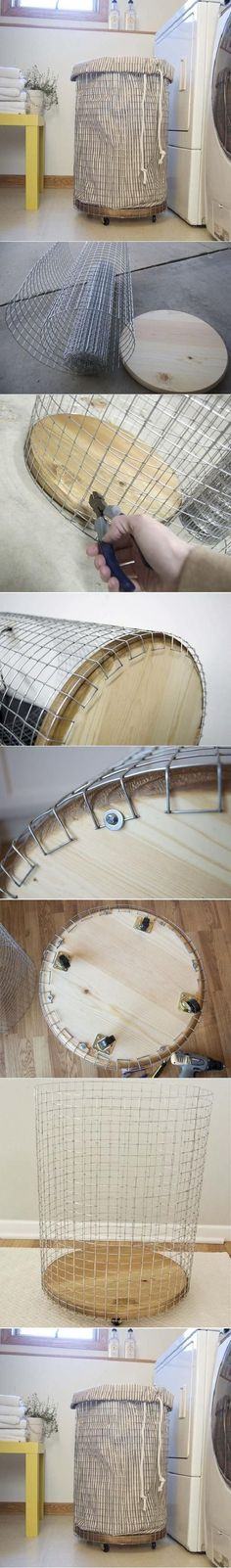 DIY wire hamper... Might have to make one since all the ones I like are super expensive