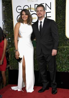 Luciana Barroso and actor Matt Damon keep it classic on the red carpet with a black and white ensemble.  (Photo by Frazer Harrison/Getty Images)  via @AOL_Lifestyle Read more: http://www.aol.com/article/entertainment/2017/01/08/golden-globes-2017-red-carpet-arrivals/21650423/?a_dgi=aolshare_pinterest#fullscreen