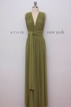 Olive Green Floor Length Ball Gown Long Maxi Infinity Dress Convertible Formal Multiway Wrap Dress Bridesmaid Dress Evening Dress by AtomAttire on Etsy https://www.etsy.com/listing/218094937/olive-green-floor-length-ball-gown-long