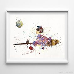 Kiki and Jiji, Kiki's Delivery Service Type 2 Print - Inkist Prints Kiki Delivery, Kiki's Delivery Service, Wall Art Prints, Poster Prints, Baby Room Art, All Poster, Posters, Watercolor Print, Painting Inspiration