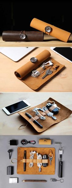 a90a7487aae8 Leather Roll Up Style Cable Travel Organizer For Cable Earphone Charger
