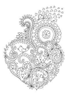 Раскраска любовь сердце с узором