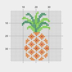 Pineapple, cross-stitch - Diy And Craft Tiny Cross Stitch, Cross Stitch Fruit, Simple Cross Stitch, Cross Stitch Borders, Cross Stitch Designs, Cross Stitching, Cross Stitch Patterns, Diy Embroidery, Cross Stitch Embroidery