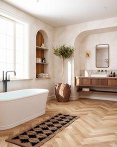 Beautiful Bathroom Design and Decor Ideas– jane at home Beautiful Bathrooms, Modern Bathroom, Master Bathroom, Warm Bathroom, Serene Bathroom, Natural Bathroom, Vanity Bathroom, Wood Vanity, Bathroom Shelves
